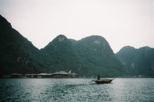 a floating fishing village in halong bay